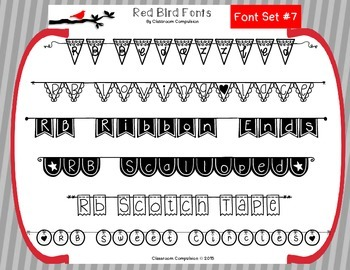 Red Bird Font Set #7 (6 Doodle Fonts for Personal or Commercial Use)