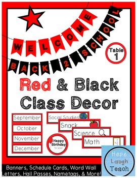 Red & Black Class Decor Pack