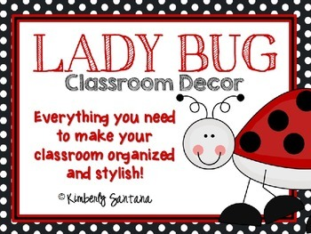 EDITABLE Red & Black Ladybug Classroom Decor Theme Pack
