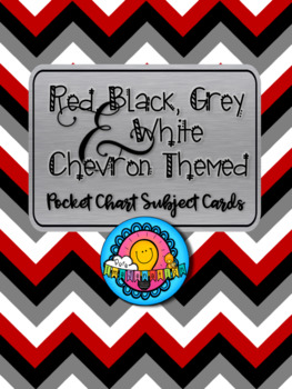 Red Black Grey White Chevron Themed Pocket Chart Subject Schedule Cards Calendar