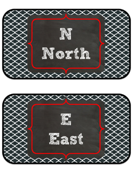 Red & Black Moroccan Themed Cardinal Directions Posters