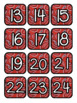 Red & Black Paisley Western Pocket Chart Subject Schedule Cards & Calendar