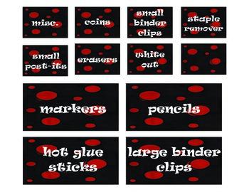 Red Black Polka Dot Toolbox Labels