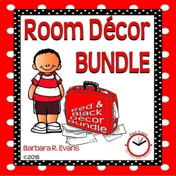 CLASSROOM DECOR BUNDLE Red and Black Theme Back to School