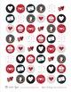 Red & Black Valentine's Bottle Cap Digital Collage Sheet