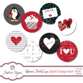 Red & Black Valentine's Bottle Cap Digital Collage Sheet