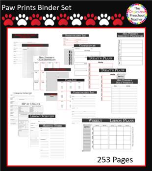 Red, Black & White Paw Prints Binder Bundle