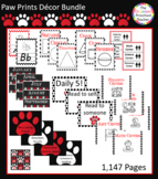 Red, Black & White Paw Prints Decor Bundle