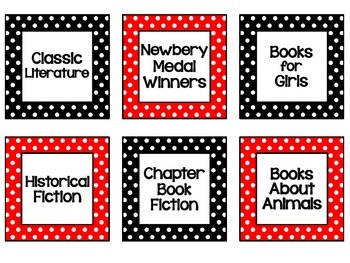 Red, Black, & White Polka Dot Classroom Library Labels {Request from Pamela S}