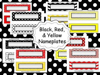 Red, Black & Yellow Nameplates