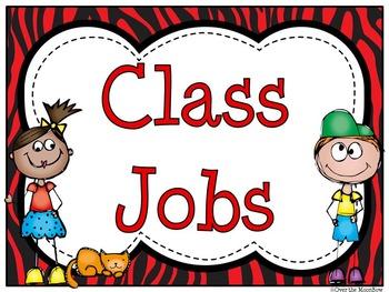 Red & Black Zebra Themed Classroom Jobs Display & Clip Chart