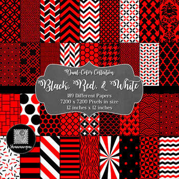 12x12 Digital Paper - 2-Color Collection: Black, Red, and White (600dpi)