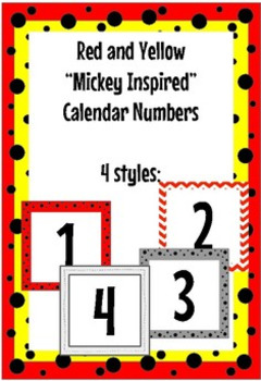 """Red Black and Yellow """"Mickey Inspired"""" Classroom Calendar set."""