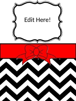 Red & Black/White Chevron Binder Cover and Inserts)