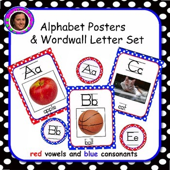 Red & Blue Alphabet with Word Wall Letters