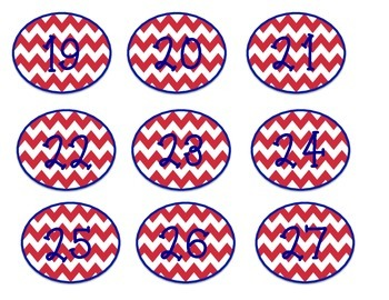 Red & Blue Chevron Number Labels