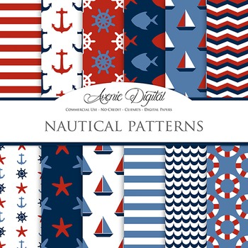 Red & Blue Classic Nautical Digital Paper patterns  sailing scrapbook background