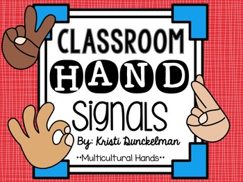 Red & Blue Classroom Hand Signals--Multicultural Hands