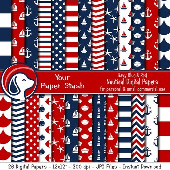 Red & Blue Nautical Digital Paper Backgrounds & Patterns Anchors Sailboat