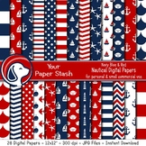 Red & Blue Nautical Digital Paper Backgrounds & Patterns A