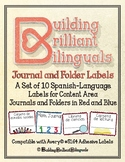 Red/Blue Spanish Content Area Journal and Folder Labels fo