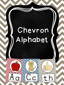 Red, Blue and Gray Chevron Alphabet