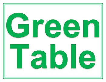 Red, Blue, and Green Center Table Signs