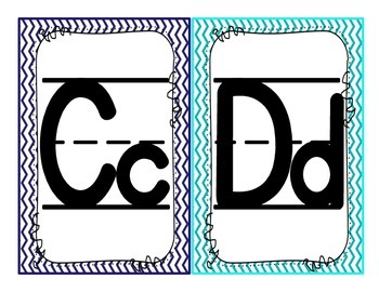 Red, Blue, and Turquoise Alphabet (with lines)