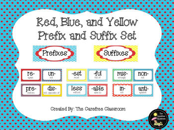 Prefix and Suffix Set: Red, Blue, and Yellow Themed
