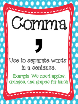 Punctuation Posters: Red, Blue, and Yellow Themed