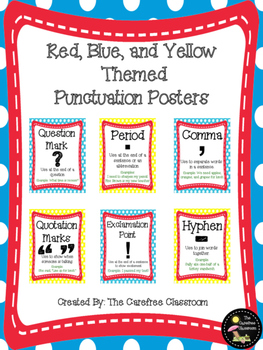 Red, Blue, and Yellow Themed Punctuation Posters
