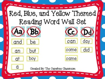 Word Wall Set: Red, Blue, and Yellow Themed