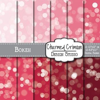 Red Bokeh Digital Paper 1307