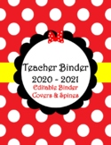 Red Bow Teacher Binder Covers & Spines 2019-2020 (Editable)
