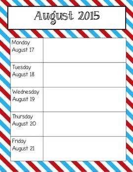 Red, Bright Blue Weekly Calendars