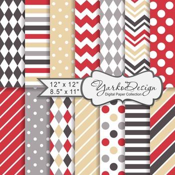 Red Brown And Beige Geometric Digital Paper Set, 12 Digital Paper Sheets