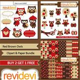 Red Brown Owls clip art and digital paper bundle (3 packs)