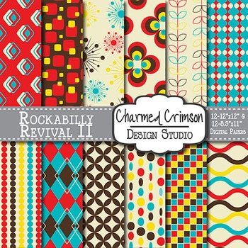 Red, Brown, Yellow, and Teal Retro Digital Paper 1212