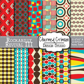 Red, Brown, Yellow, and Teal Retro Digital Paper 1211