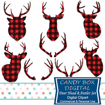 Red Buffalo Check Plaid Deer and Antler Silhouette Clip Art