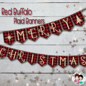 Christmas Banners.Red Buffalo Plaid Christmas Banners