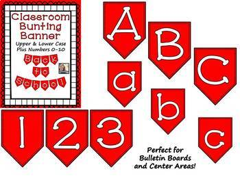 Red Bunting Banner Letters A-Z and Numbers 0-10