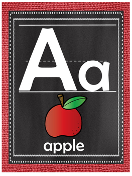 Red Burlap and Chalkboard Alphabet Posters