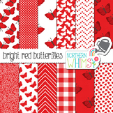 Red Butterfly Digital Paper