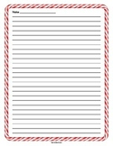 Red Candy Cane Christmas Border Lined Paper