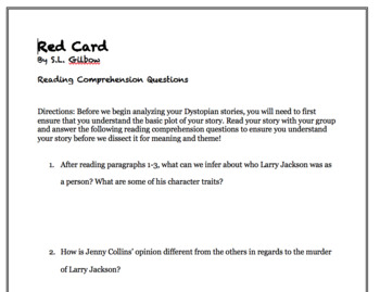 Red Card by SL Gilbow Comprehension Questions