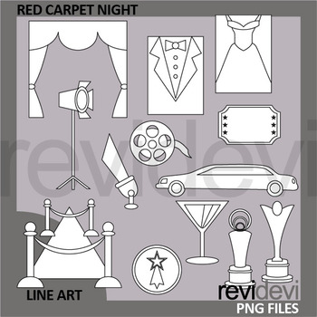 Red Carpet Night Clip Art Black and White - Line art