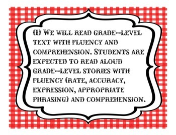 5th Grade Language Arts TEKS; Red Checkered Western Theme