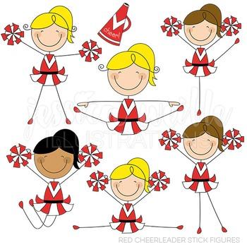 Red Cheerleader Stick Figures Cute Digital Clipart, Cheerleading Clip Art