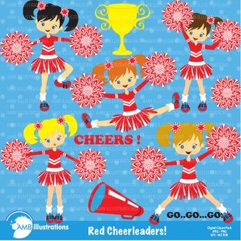Clipart, Cheerleader clipart, Cheerleaders in red clip art, AMB-213